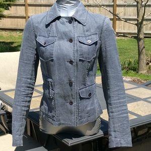 Blue Linen Cotton Jacket Calvin Klein Small NWOT